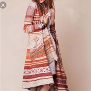 Free People Aztec Boho Duster Cardigan Rare